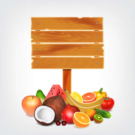 wooden plank: Fruits and vegetables with wooden plank.  vector Illustration