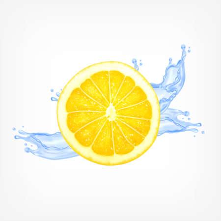Lemon slice with water splash. Vector icon. EPS10 vector