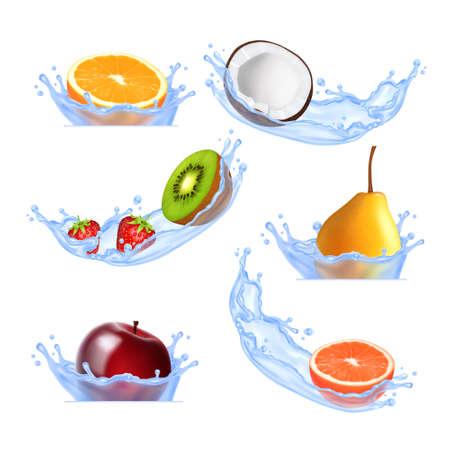 splashing water: Fruits in splashing water. Illustration