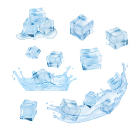 ice cubes: Ice cubes with water splash. Vector icon set.