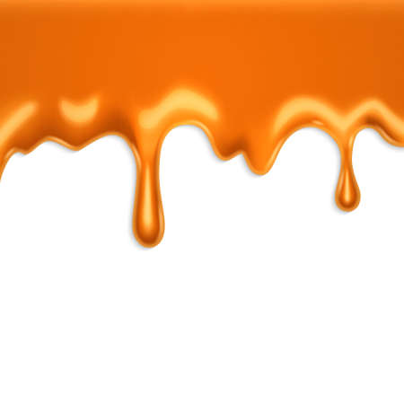 caramel sauce: Dripping caramel on a white background.