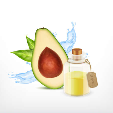 Avocado with oil jar.