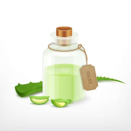 vera: Aloe with essential oil. Illustration