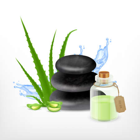 essential oil: Aloe with essential oil. Illustration
