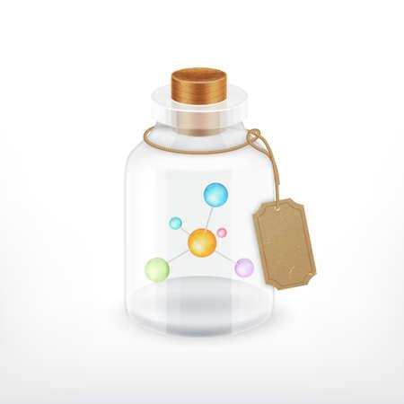 Molecuul in een fles. Vector pictogram. vector