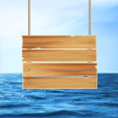 wave tourist: Realistic summer background. Summer holidays. Wooden plank and tropical sea.  vector