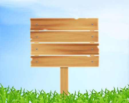wooden plank: Nature background. Wooden plank and grass.  vector Illustration