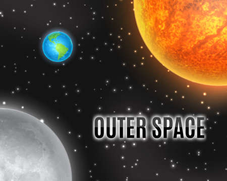 earth from space: Outer space. Earth, moon and sun.