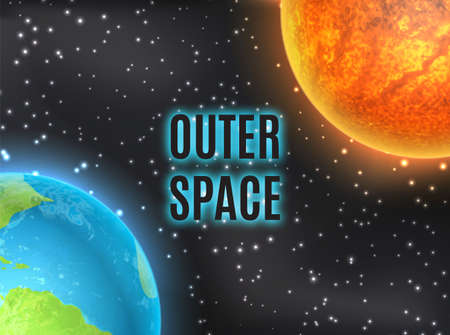 Outer space. Earth and sun.