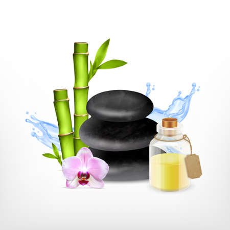 religion  herb: Spa concept. Spa stone with bamboo, orchid and essential oil jar. Vector icon. EPS10