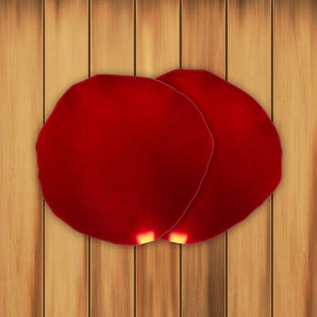 planks: Rose petals on a wooden planks Illustration