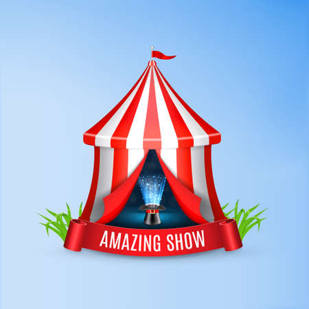 conjurer: Conjurer hat with magical glow inside circus tent. Circus concept. Illustration