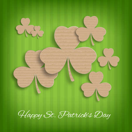 ire: St. Patricks Day background. Background with cardboard clover. EPS10 vector Illustration
