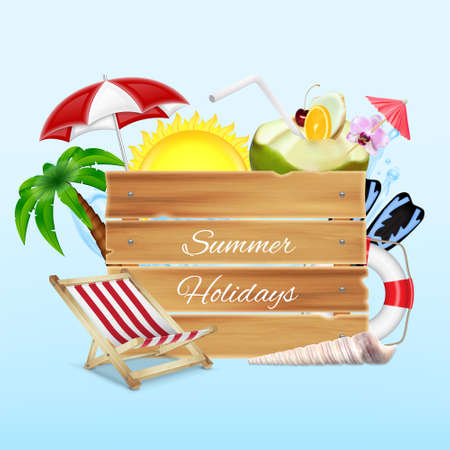 Summer background. Wood banner with umbrella, lounge chair and cocktail. Summer holidays concept. 3d illustration. ESP10 vector