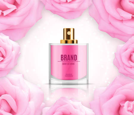 Perfume ads template. Perfume bottle on a pink background with glitter, bokeh and glowing elements. Design for ads or magazine. 3d illustration. EPS10 vector