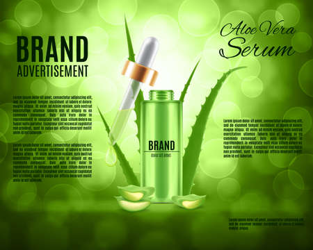 Aloe vera serum and collagen vitamin. Skin care concept. Design for ads or magazine. 3d illustration. EPS10 vector Illustration