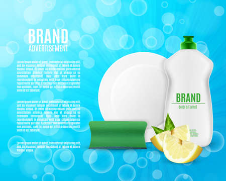 Dish washing liquid bottle on blue background. Illustration