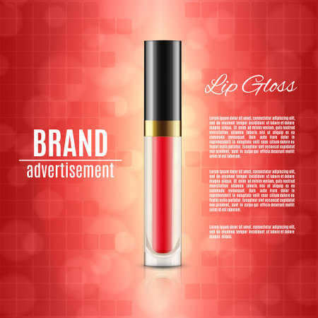 Moisten lip gloss ads on red background.