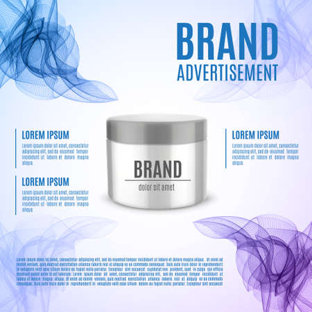 Cosmetic ads template vector illustration.