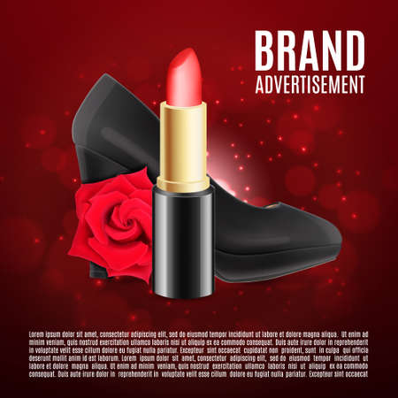 Red lipstick ads template