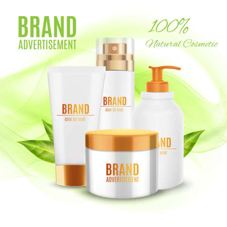 Natural cosmetic ads template Illustration