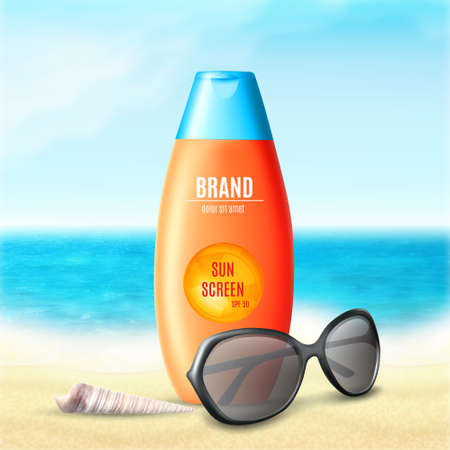 Sun protection cosmetic product design. Cosmetic bottle with sunglasses and seashell on a nature background. Template for ads or magazine. 3d illustration. EPS10 vector