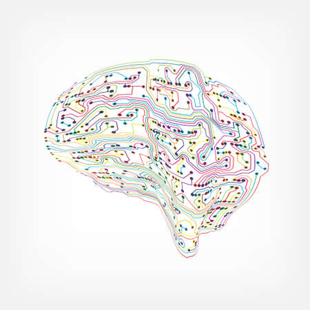 Circuit board in brain form in a colorful lines design Illustration