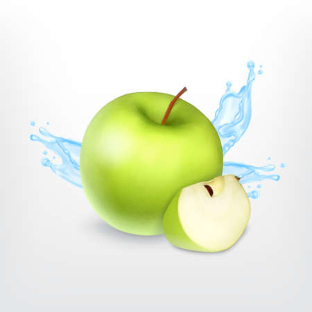 Green apple  with water splash, isolated on white