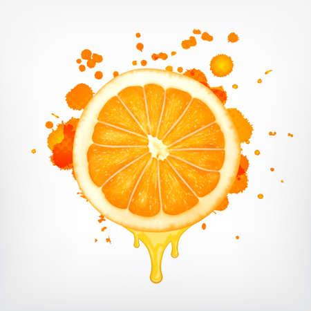Orange slice with dripping juice Vettoriali