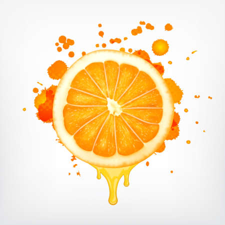 Orange slice with dripping juice 矢量图像