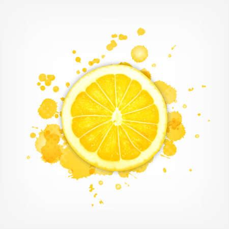 Lemon slice with splash of juice on the white background