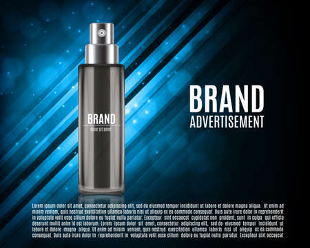 Cosmetic ads template isolated on colorful background