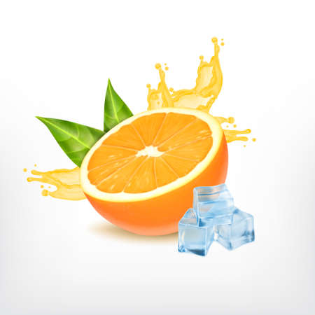 Orange fruit with splashing juice isolated on plain background