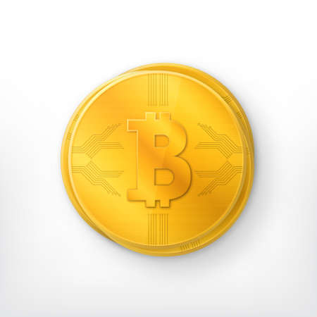 Bitcoin Crypto currency golden coin Illustration.