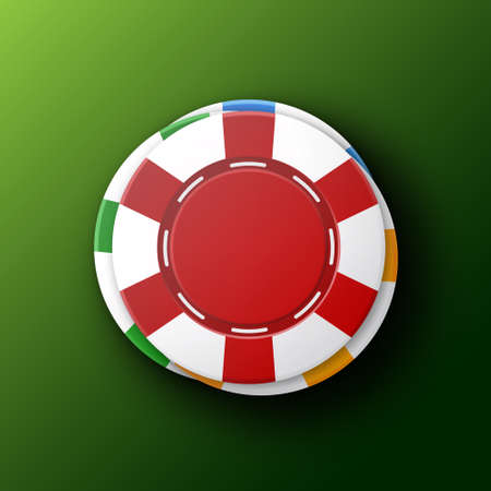 Casino chips on a green background. Top view. Casino concept. Illustration