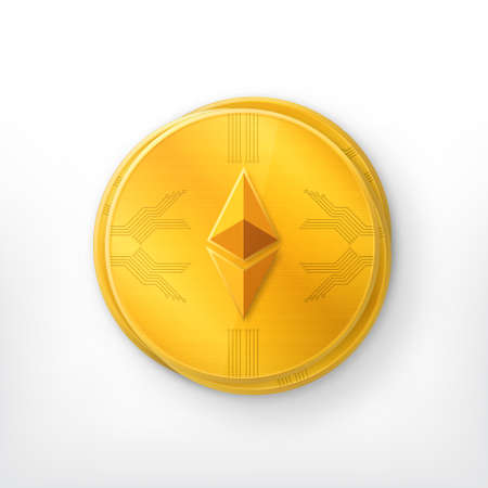 Crypto currency golden coin Illustration
