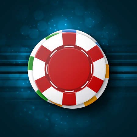 Casino chips on a blue background. Top view Casino concept. EPS10 vector Illustration