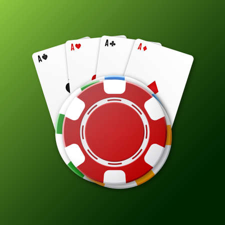 Casino chips with playing cards Vector illustration.