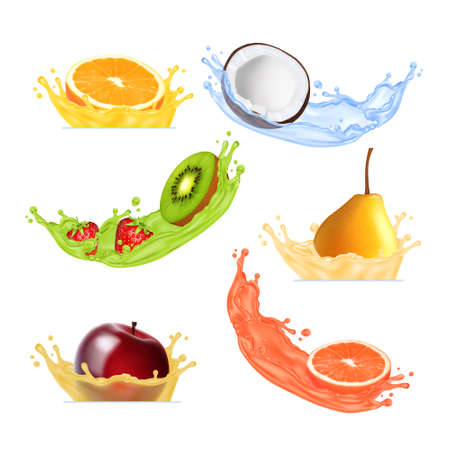 Fruits in splashing juice. Vector icon. EPS10