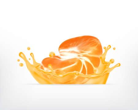 Tangerine fruit in splash juice. Vector icon. EPS10 Illustration