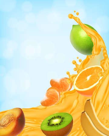 Splash of juice. Sweet tropical fruits. Vector icon. EPS10