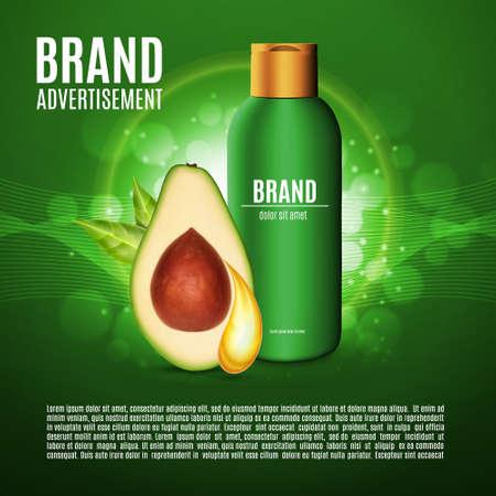 Massage oil bottle, avocado extract.