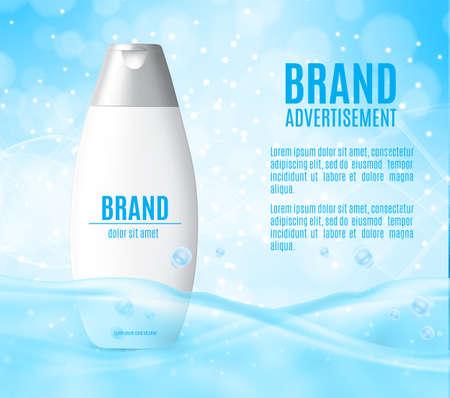 Plastic packaging with hair shampoo. Design for ads or magazine. 3d illustration. EPS10 vector Illustration