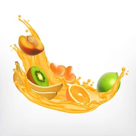 Splash of juice with fruit slices in realistic Illustration. Illustration