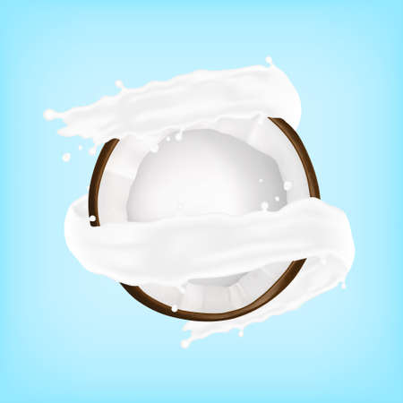 Coconut in a milk splash. Vector illustration. EPS10