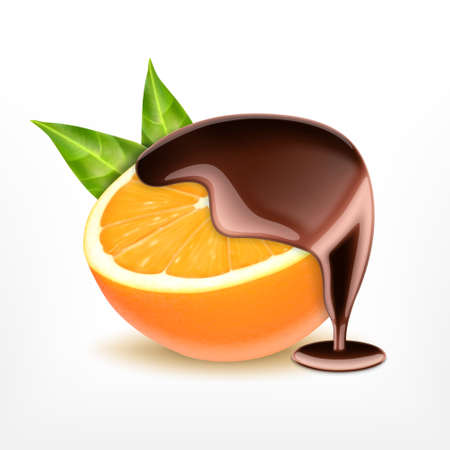 Orange fruit with chocolate Stock Illustratie