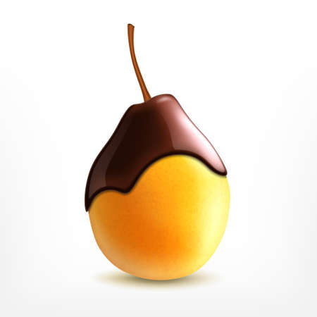 Fresh pear with chocolate Stockfoto