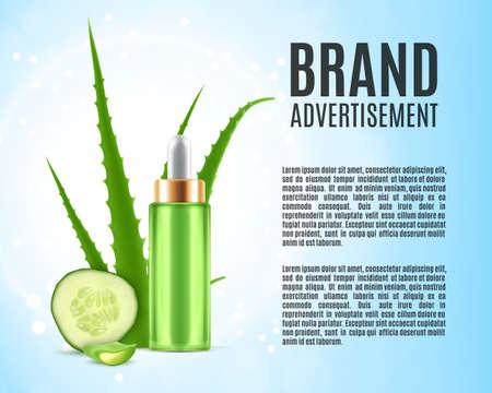 Aloès et concombre. Modèle d'annonces cosmétiques. illustration 3D. vecteur EPS10