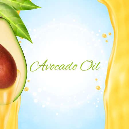 Fresh avocado slice with oil
