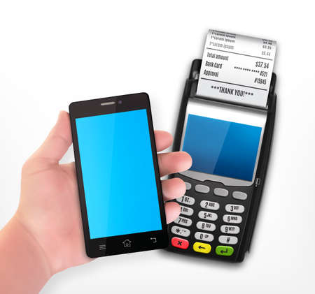 Mobile payment trough POS terminal Stockfoto